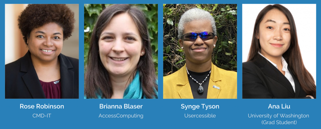Image of moderator with 3 panelists for webinar discussion on making your virtual talk inclusive. From Left to Right: Rose Robinson, Brianna Blaser, Synge Tyson and Ana Liu.