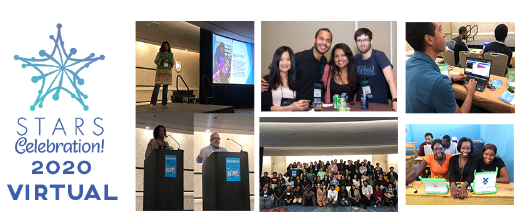 STARS Celebration! 2020 Virtual conference logo. A number of photos from 2019 STARS celebration which speakers on stage, students participating in workshops and central lower row grou photo